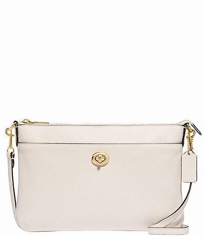 COACH Polly Pebble Leather Top Zip Crossbody Bag