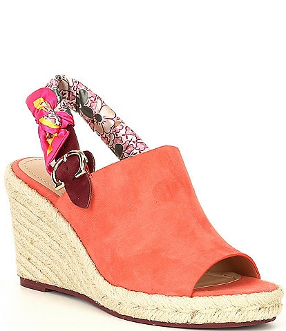 COACH Poppy Wedge Suede Floral Slingback Espadrilles