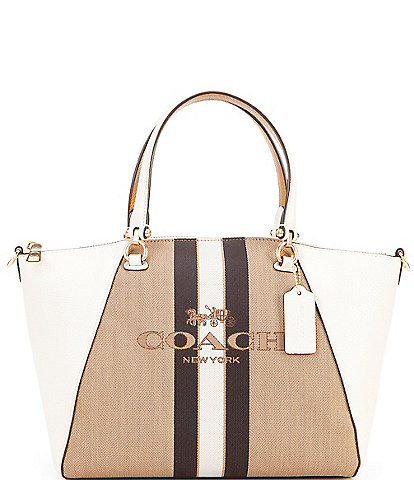 COACH Prairie Horse and Carriage Stripe Satchel Bag