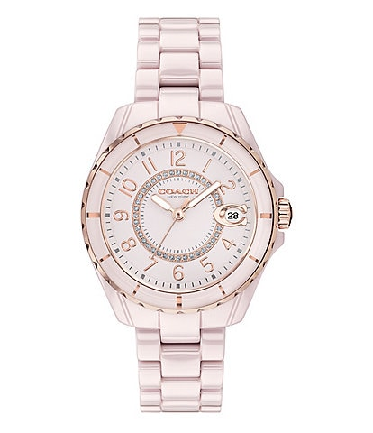 Coach Preston Pink Ceramic Quartz Analog Watch