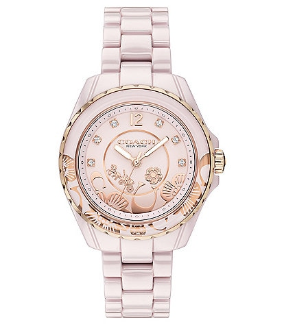 COACH Preston Quartz Analog Tea Rose Motif Blush Ceramic Watch