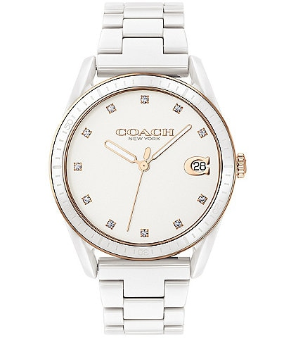 COACH Preston Crystal White Quartz Analog Watch
