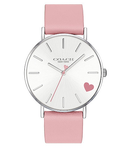 COACH Quartz Analog Perry Pink Leather Heart Watch