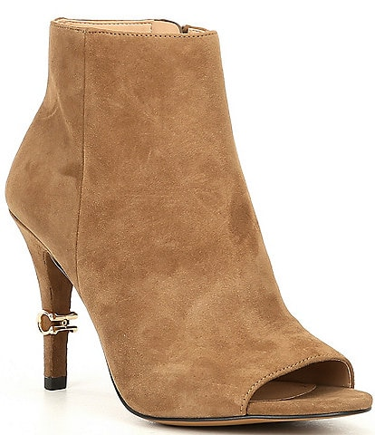 COACH Remi Suede Peep Toe Shooties