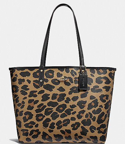 COACH Reversible Leopard Print City Tote Bag