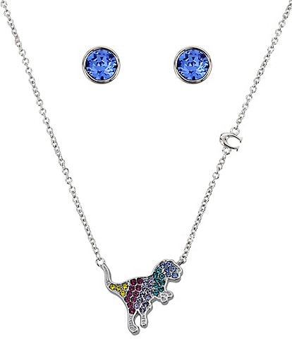 COACH Rexy Crystal Pendant and Stud Earring Gift Set