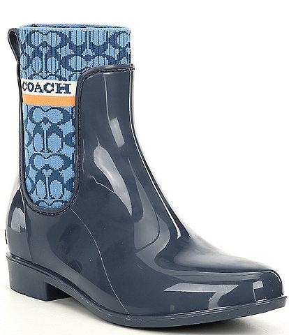 COACH Rivington Logo Water Resistant Chelsea Rain Booties