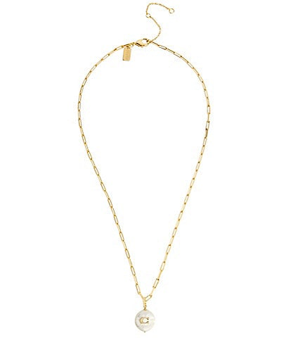 COACH Signature C Freshwater Coin-Pearl Pendant Necklace