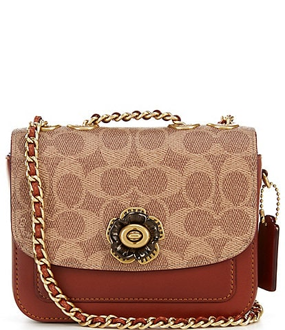 COACH Signature Canvas and Calf Leather Madison Link Strap Shoulder Bag