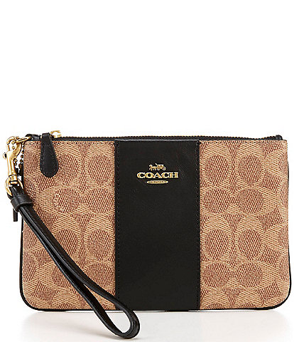 COACH Signature Canvas Colorblock Small Wristlet