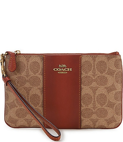 COACH Signature Canvas Colorblock Leather Zip Top Small Wristlet