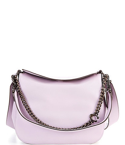 COACH Signature Chain Smooth Leather Top Flap Snap Hobo Bag
