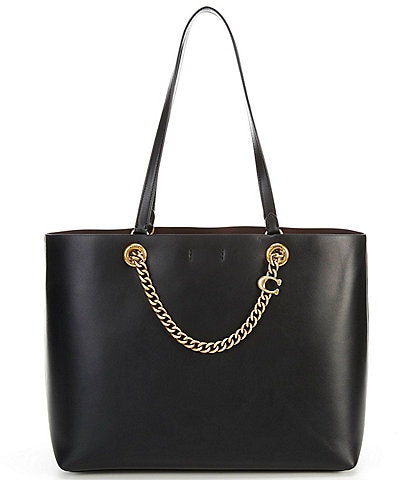 COACH Signature Chain Leather Medium Tote Bag