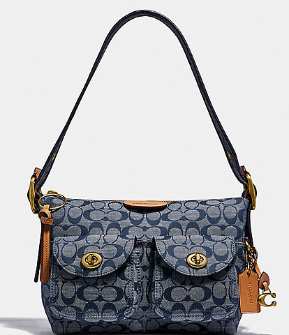 COACH Signature Chambray Cargo Shoulder Bag