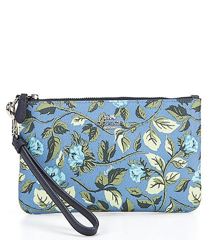 COACH Signature Coated Canvas Sleeping Rose Print Small Zip Wristlet