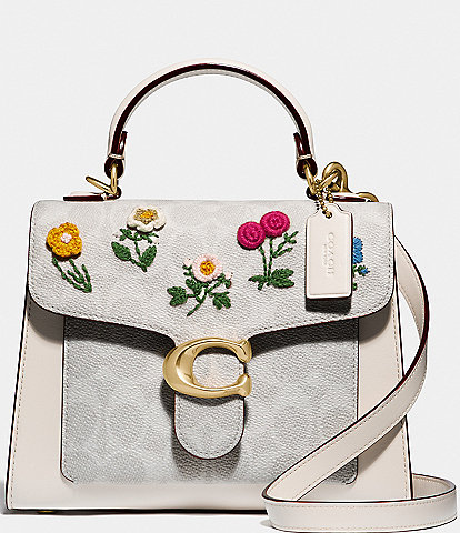 COACH Signature Floral Embroidery Tabby Top Handle Satchel Bag