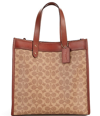 COACH Signature Horse and Carriage Print Field Tote Bag