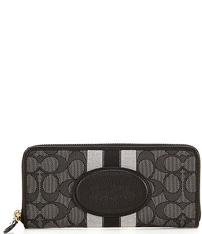 COACH Signature Horse and Carriage Slim Accordion Zip Wallet