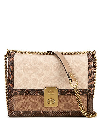 COACH Signature Hutton Turnlock Shoulder Bag