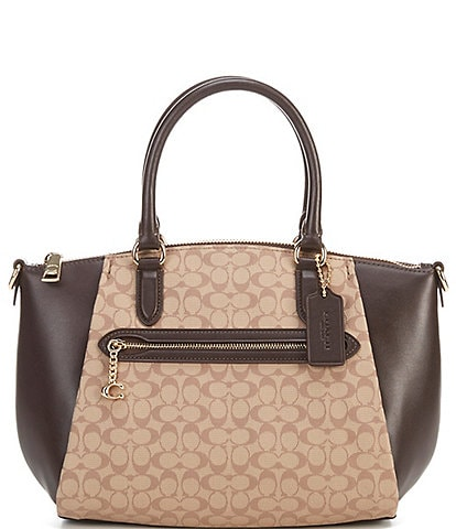 COACH Signature Jacquard Elise Medium Satchel Bag