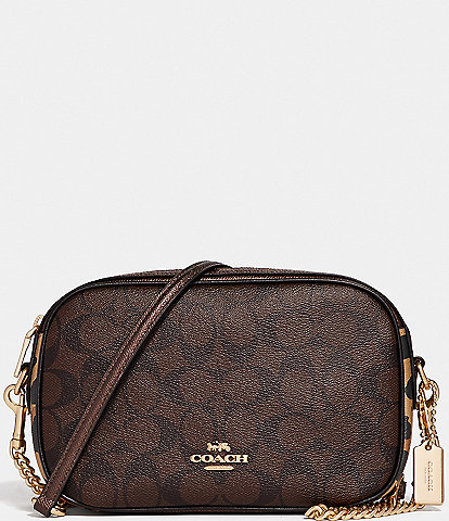 COACH Signature Leopard Print Mixed Media Isla Chain Crossbody Bag