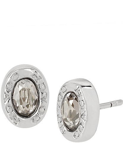 COACH Signature Logo Swarovski Crystal Stud Earrings