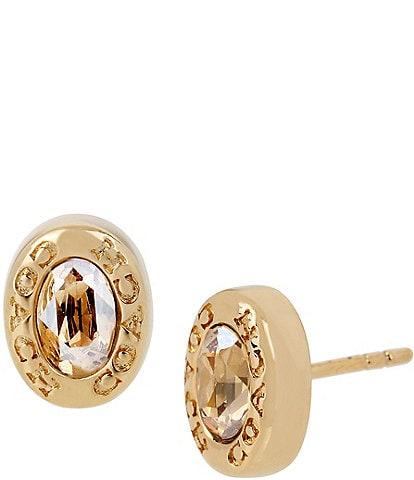 COACH Signature Logo Crystal Stud Earrings