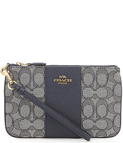COACH Signature Jacquard and Pebble Leather Small Wristlet