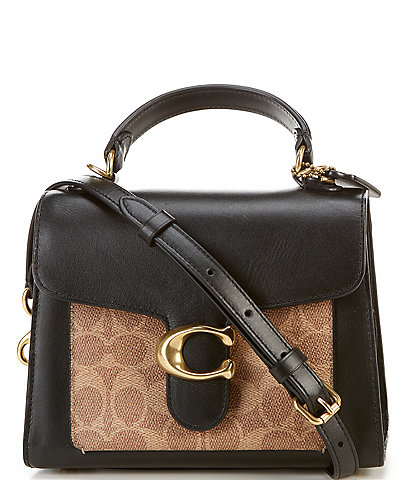 COACH Signature Tabby Top Handle Leather and Suede Satchel Bag