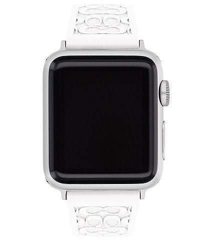 COACH Signature White Silver Buckle 38/40mm Bands for Apple Watch®