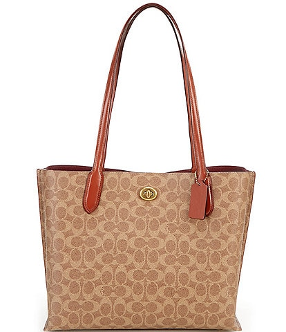 COACH Signature Willow Canvas and Leather Tote Bag