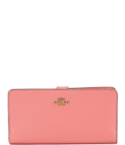 COACH Classic Skinny Leather Snap Closure Wallet