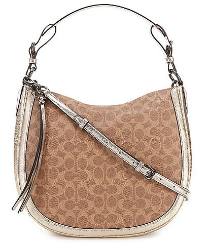 23d199b3b43 Coach Sutton Signature Canvas Snake-Detail Hobo Bag