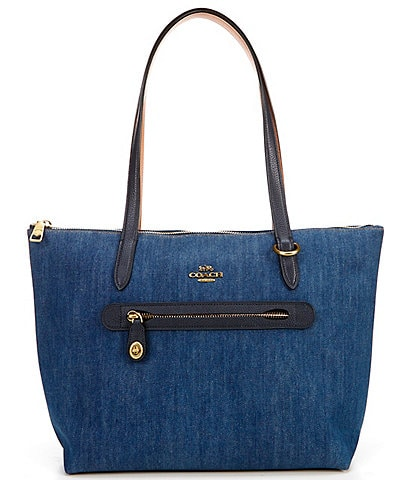 COACH Taylor Denim and Polished Pebble Leather Trim Zip Top Blocked Tote Bag