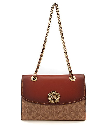 COACH Tea Rose Signature Canvas Parker Shoulder Bag
