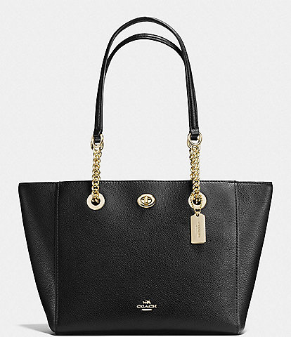 COACH Turn-Lock Chain Tote in Polished Pebble Leather