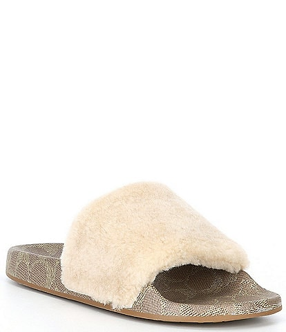 COACH Ulla Shearling Pool Slides