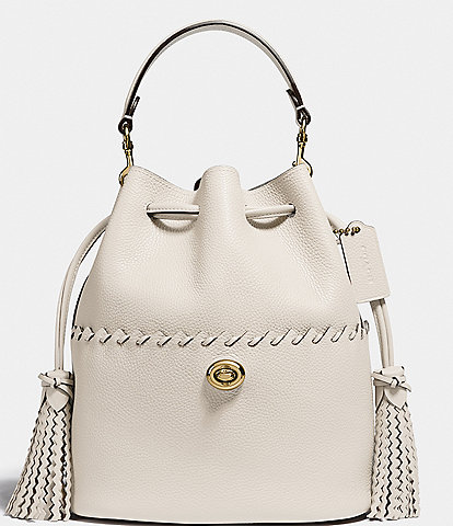 COACH Whipstitch Pebble Leather Lora Drawstring Bucket Bag