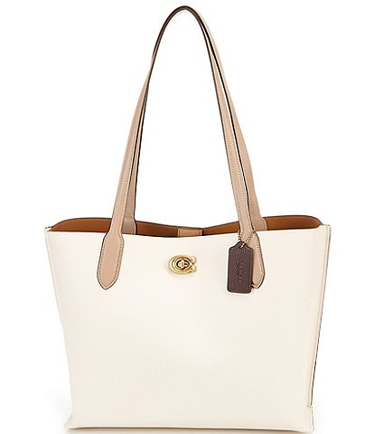 COACH Willow Colorblock Pebble Leather Tote Bag