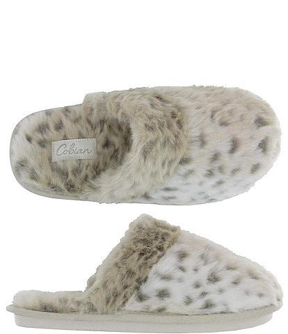 Cobian Minouu Fuzzy Faux Fur Snow Leopard Mule Slipper