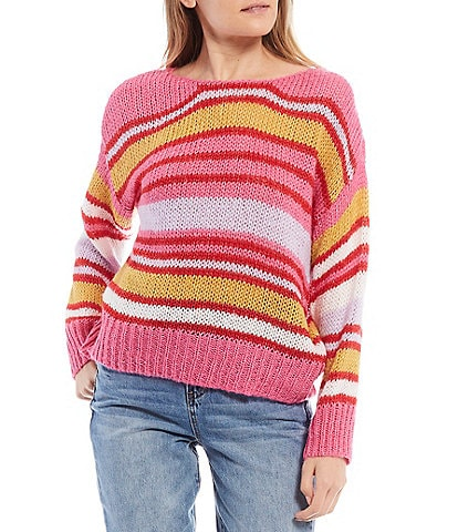 Coco + Jaimeson Balloon Sleeve Multi Stripe Sweater Top