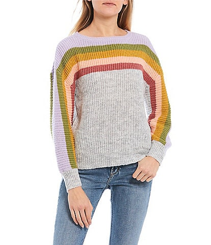 Coco + Jaimeson Balloon Sleeve Pastel Multi-Stripe Sweater Top