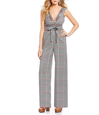 Coco + Jaimeson Belted-Tie Menswear Plaid Jumpsuit