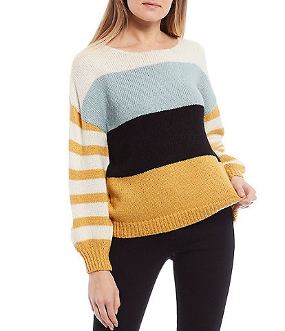 Coco + Jaimeson Bubble-Sleeve Striped Sweater