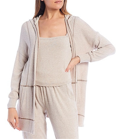 Coco + Jaimeson Coordinating Hacci Open-Front Tunic Hoodie Cardigan