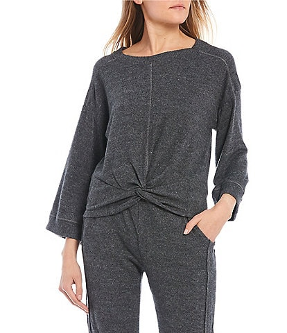 Coco + Jaimeson Coordinating Long-Sleeve Twist-Front Hacci Knit Lounge Top