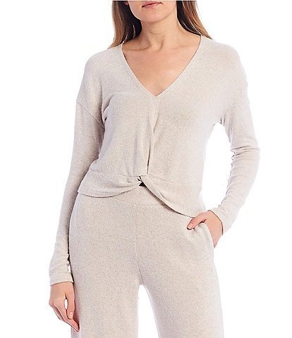 Coco + Jaimeson Coordinating Long-Sleeve V-Neck Twist-Front Hacci Top