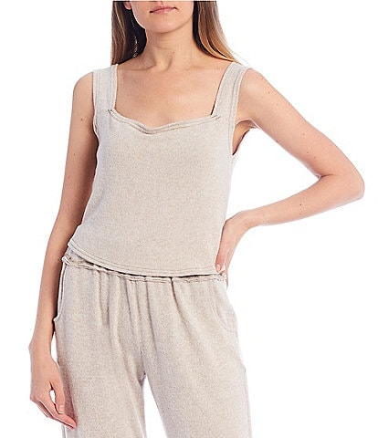 Coco + Jaimeson Coordinating Sleeveless Square-Neck Hacci Knit Crop Top
