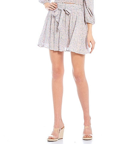Coco + Jaimeson Coordinating Tie-Front Smocked Printed Flare Mini Skirt