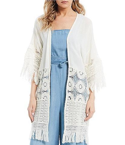 Coco + Jaimeson Crochet Inset Fringe Hem Kimono